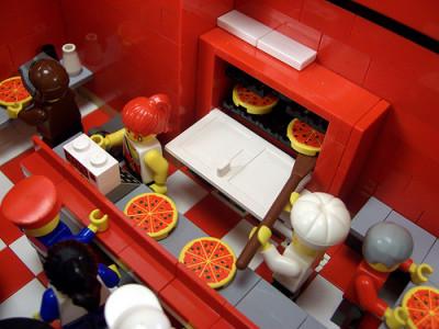 レゴで作ったピザ店