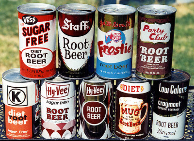 Root Beer Cans, 1960's & '70's