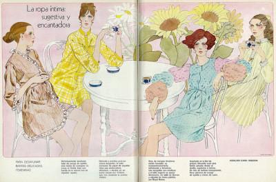 Illustrated 1970 Fashions, Intimate Apparel & Lingerie, Beautiful Girls, 1 of 3 (lengua española revista)