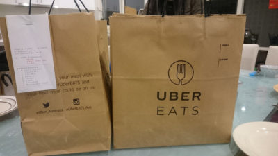 Takeaway bags advertising Uber Eats - Hellenic Republic, Kew